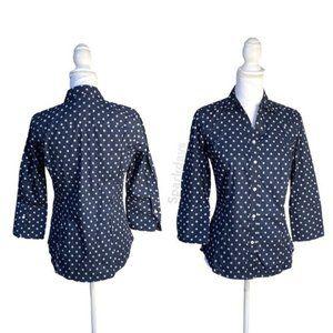 Nautica Navy Button Up Collar Dress Shirt   S